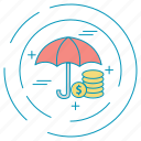 dollar, money, payment, umbrella icon