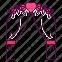 arch, enter, flower, party, wedding