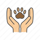 animal, care, charity, hands, paw, pet, protection icon