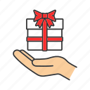 gift, gift box, give, hand, palm, present, surprise icon