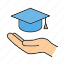 college, education, graduation cap, hand, offer, school, study icon