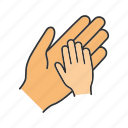 charity, child, childcare, donation, hands, parent, protection icon