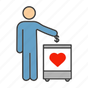 aid, charity, contribution, donation, donation box, fundraising, money icon