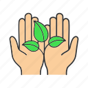 eco, ecology, environment, hands, nature, protection, sprout icon