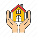 care, hands, home, house, insurance, protect, real estate icon
