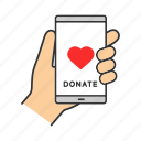 aid, charity, donate, donation, fundraising, online, smartphone icon