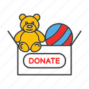 charity, children, donate, donation, teddy bear, toys, volunteering icon