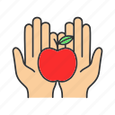 apple, charity, donate, donation, food, fruit, hands icon