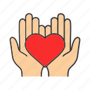 care, charity, donate, donation, hands, heart, love icon