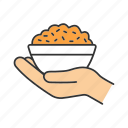 charity, donate, donation, food, free food, offer, rice bowl icon