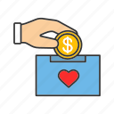 charity, dollar, donate, donation, donation box, fundraising, money icon