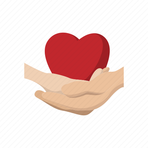 care, cartoon, donation, hands, health, heart, love icon