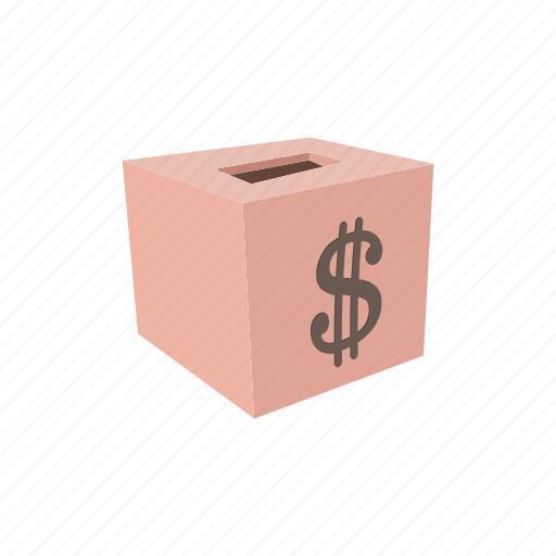 bank, box, cartoon, currency, donation, financial, money icon