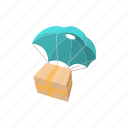 cartoon, courier, deliver, delivery, package, parachute, shipping icon