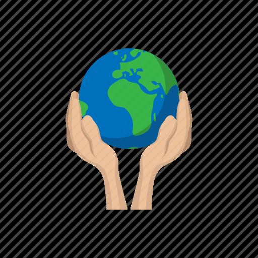 cartoon, earth, globe, hands, holding, planet, world icon