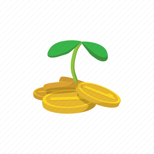 cartoon, charity, coins, gold, money, plant, sprout icon