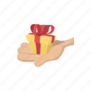 cartoon, donation, gift, giving charity, hand, palm, present icon