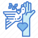 cooperation, charity, bird, peace, hand