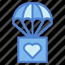 parachute, box, gliding, charity, heart