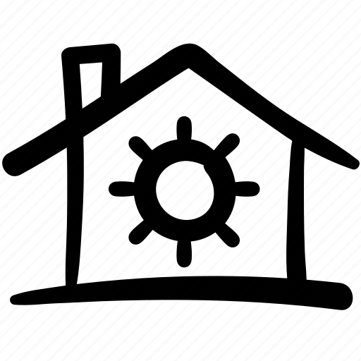 doodle, finance, house, property, setting home, shop icon