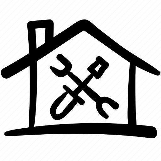 doodle, finance, home repairs, house, service, shop, tools icon