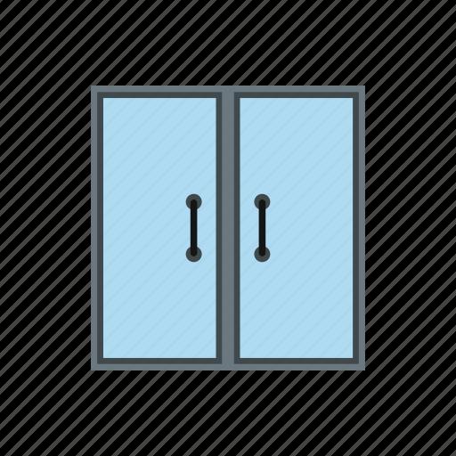 door, double, glass, handle, interior, knob, room icon