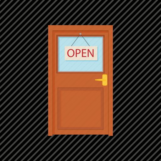 cartoon, door, doorway, entrance, interior, office, open icon