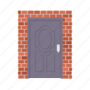 architecture, brick, brown, cartoon, door metal, doorway, entrance icon