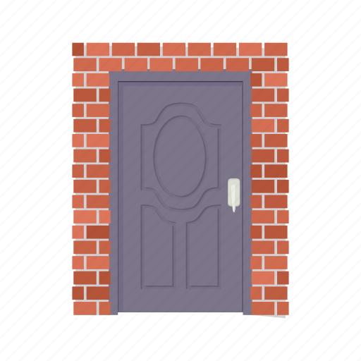 architecture, brick, brown, cartoon, door metal, doorway, entrance icon