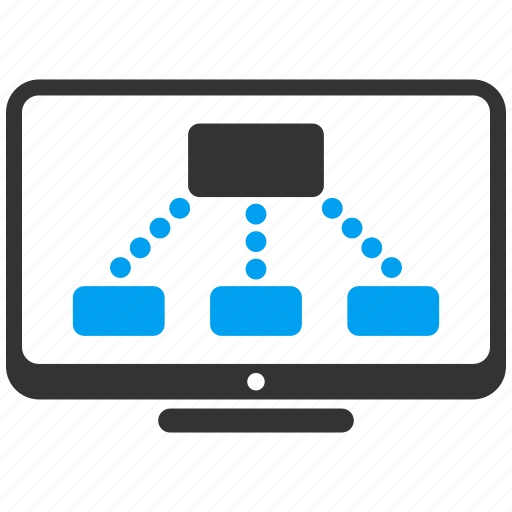 graph, group, hierarchy, monitor, object, relations, structure icon
