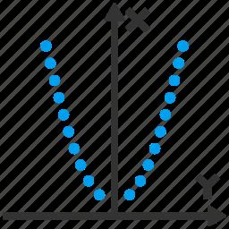 algebra, chart, dotted, function, parabolic, plot, square parabola icon