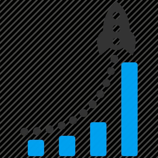 bar chart, business launch, financial report, rocket, sales report, statistics, success start icon
