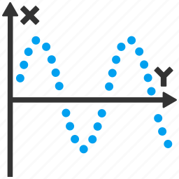 function plot, line chart, math, sine curve, sinus, sinusoid, waves icon