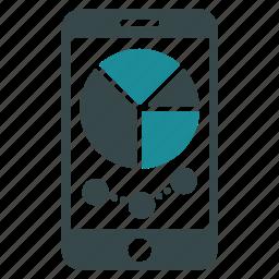 diagram, graph, mobile, pie chart, report, smartphone, statistics icon