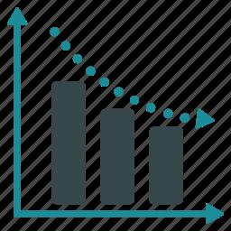 chart, depression, diagram, graph, negative trend, report, statistics icon