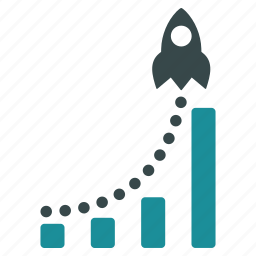 bar chart, business report, dotted graph, rocket launch, startup, statistics, success start icon