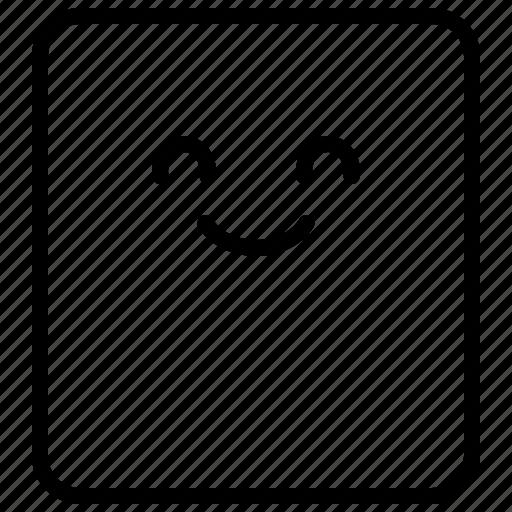 emoticon, expression, face, happy, rectangle, smile icon