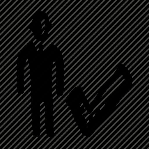 checkmark, person icon