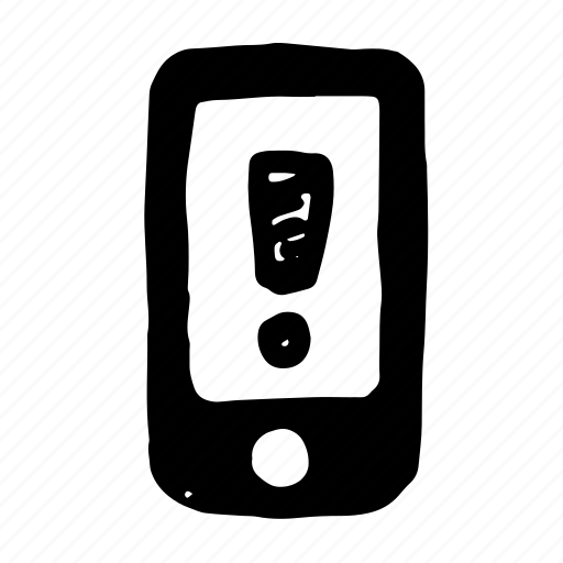 device, exclamation, iphone, mobile, phone, smartphone icon