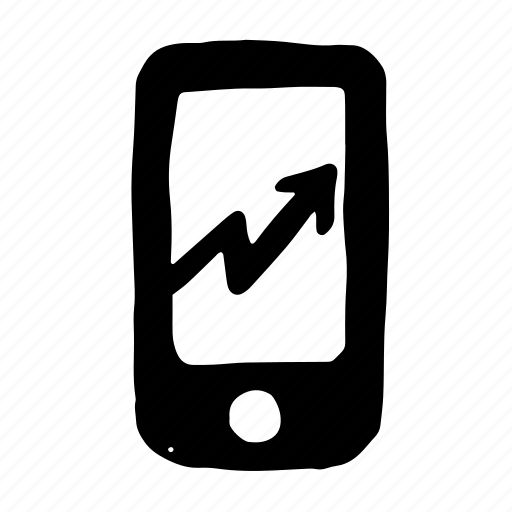 chart, graph, growth, mobile, phone, smartphone icon
