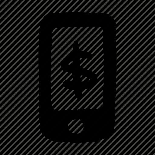 cash, currency, dollar, finance, money, smartphone icon