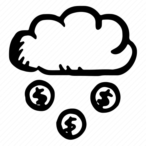cloud, cloudy, coins, forecast, internet, money, rain icon