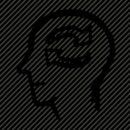 arrows, head, human, mind, sign icon