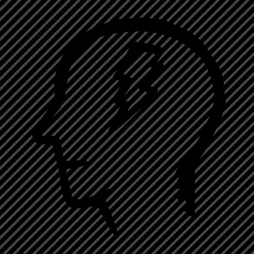 brain, flash, head, idea, man icon