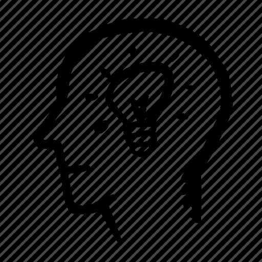 brain, face, head, idea, lamp icon
