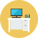 desk, help, office, table, work desk, work station icon