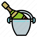 alcohol, bottle, champagne, drink, ice, kibble, wine icon
