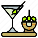 alcohol, cocktail, drink, dry, martini, olive icon
