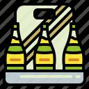 beer, bottle, case, crate, drink, pack, six
