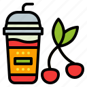 cherry, cup, drink, smoothie, takeaway icon